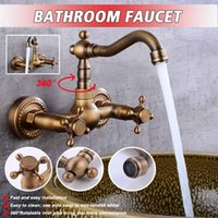 Wholesale antique kitchen handles for sale - Group buy Antique Brass Rotation Kitchen Sink Crane Faucet Torneira Wall Mounted Double Handle Bathroom Basin Mixer Tap Cold And Hot