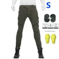 pantalon cargo vert armée femme achat en gros de-Pantalon slim + genouillère Armée Cargo Solide Vert Combat Femmes Jeans Anti-Chute Confortable Moto Pantalon