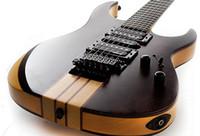cuerdas de guitarra de calidad al por mayor-La mejor calidad China personalizada 6 cuerdas a través de la guitarra eléctrica con Floyed rose, hardware de oro