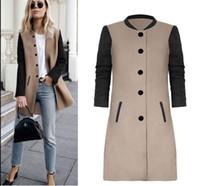 casacos de lã preto longo de lã venda por atacado-Gqilyybz mulheres de lã inverno longo casaco de lã preto cáqui das mulheres casacos plus size casaco feminino casaco manteau femme hiver