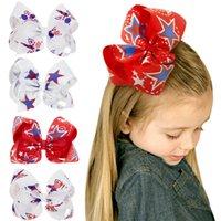 cinta de cocodrilo impresa al por mayor-Cinta de pelo arco clips de cocodrilo bebé lindo Bowknot Barrette moda chica Star Print Headwear niños accesorios para el cabello TTA750