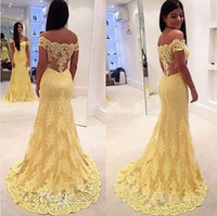 Wholesale real boats for sale - Group buy 2019 New Boat Neck Lace Formal Party Dress Court Train Sleeveless Vestidos Charming Yellow Off The Shoulder Evening Dress