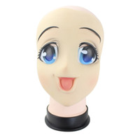 ingrosso maschere di cartone animato giapponese-Big Eyes Girl Full Face Maschera in lattice Mezza testa Maschera Kigurumi Cartoon Cosplay Anime giapponesi Ruolo Lolita Crossdress Doll