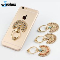 Wholesale beautiful phone holder online – custom Beautiful Peacock Mobile Phone Stand Holder Metal Diamond Finger Ring Smartphone Holders For iPhone Xiaomi Huawei All Cellphone Stand sticke