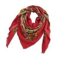 Wholesale cotton flower printed pashmina shawl resale online - New Design Square Russia Printing Bandana Fashion Scarf cm Flower Scarves Blanket Shawl Handkerchief For Women T200429