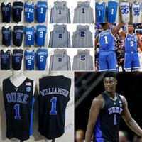 camisetas de baloncesto de poliéster al por mayor-2019 Duke Blue Devils Sion Williamson jerseys # 1 5 2 RJ Barrett Cam Rojizo 32 Christian Laettner Bagley Negro blanco real de los hombres de baloncesto