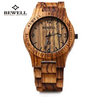 Wholesale wooden watch bewell for sale - Group buy Bewell B Wood Watch Men Analog Quartz Movement Date Waterproof Handmade Wooden Watches Male Wristwatches relogio