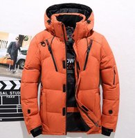 Wholesale yellow duck clothing online - Fashion Men Casual Duck Down Coats Male Winter Thick Hooded Warm Jackets Coat Zipper Design Clothing