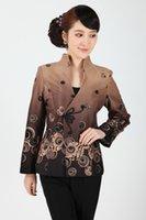 jaqueta de casaco tradicional chinesa venda por atacado-Chinês Tradicional Encabeça Mulheres Algodão Casaco Senhora Jaqueta Tamanho M-3XL