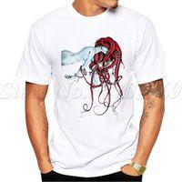 neue design-tops für mädchen großhandel-2019 heiße verkäufe neue mode septoid design männer t-shirt kurzarm aussenseiter tops punk mädchen octopus haar gedruckt hipster t