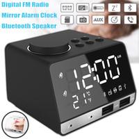 falantes de porta venda por atacado-Rádio bluetooth 4.2 speaker display led despertador dupla unidades sem fio bluetooth speaker rádio fm 2 porta usb snooze relógio de mesa