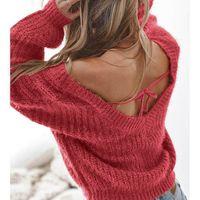 offene pullover großhandel-Womens Designer Sweater Open Back Sweater Solid Color Top Fashion Sexy Kleidung Neue Art-hochwertige 2019 für Großhandel Stile Größe S-XL