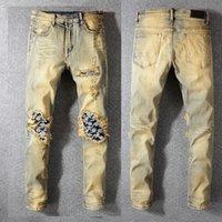 джинсы с голубыми джинсами оптовых-New Italy Style #582# Men's Distressed Dirty Washed Denim Blue Jeans Art Ribs Patches Skinny Pants Slim Trousers Size 28-40