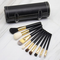 make-up pinsel runde fall großhandel-M Marke Make-up Pinsel Set 9 stücke Professionelle Holzgriff Foundation Lidschatten Kosmetik Make-Up Pinsel Tool Kit mit Rundhalter Fall Spiegel