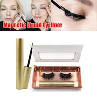 minks toptan satış-2019 Yeni Manyetik Sıvı Eyeliner Ve 3D Vizon 3d süet Üç Manyetik Yanlış Kirpik Seti (3D Vizon Kirpikler + Manyetik Eyeliner)