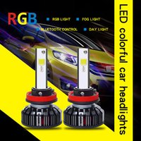 Wholesale spot lights for cars for sale - Group buy LED Headlight RGB Chip COB Car Light LED Bulbs H4 H1 H7 Smartphone App controlled for Car Fog Lights Spot Beam Driving Light V
