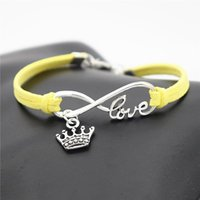roi corde achat en gros de-Vente chaude Antique Argent Tressé Pourpre En Cuir Corde Infinity Amour Élégant Roi Couronne Bracelets Bracelets Charme Mode Femmes Hommes Bijoux
