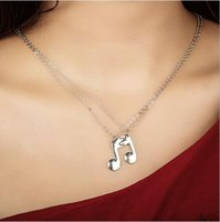 Wholesale double slide resale online - 2019 New Arrival European and American Style Personality Creative Double Pieces for Lovers Music Notes Pendant Necklace N5289