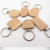 Wholesale blank wooden keychains resale online - 2019 Personalized DIY Blank Wooden Key Chains Styles Women Bag EDC Accessories Wood Keychains Car Key Ring Chain Business Gift D274LR
