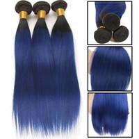 gri ombre örgü toptan satış-Ombre İnsan Saç Paketler Düz Brezilyalı Saç Örgü Demetleri 3 Parça Anlaşma 8-26 inç Remy İnsan Saç Dokuma T1B / Yeşil / Mavi / Gri