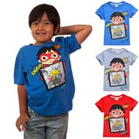 camisetas de juguete al por mayor-Ryan Toys Review camisetas para niños Camisetas 100% algodón 4-10t Niños niños Camiseta de verano Tops 110-140cm ropa de diseño para niños niños SS150