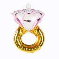 balão de noiva venda por atacado-Pequeno Casamento Da Noiva folha de balões de Diamante Anel De Folha De Alumínio Balão Folha De Noivado Dos Namorados Balões de Festa Brinquedos