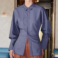 полая блузка оптовых-Вернуться выдолбленные бантом зашнуровать рубашки для женщин с длинным рукавом синяя блузка топ женский корейский 2019 весна мода новый