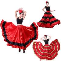 desgaste da dança do carnaval venda por atacado-Tourada espanhola Festical Stage Desgaste Desempenho Mulher Flamenco Saia Carnaval Partido Vermelho Preto De Cetim Vestido De Dança Do Ventre