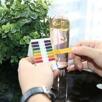 prueba de ph prueba de tira al por mayor-80 Tiras de Rango Completo pH Ácido Alcalino 1-14 Equipo de Prueba de Torniquismo para Papel de Prueba de Agua Para Acuario Estanque Prueba de Agua