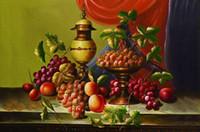 lona ainda pintura da vida venda por atacado-Frete grátis clássico ainda vida uvas tigela de frutas impressões de lona pintura a óleo sobre tela wall art decoração imagem