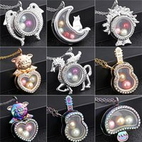 Wholesale stainless steel guitar slide for sale - Group buy 3 Colors Dolphins pegasus guitar mushroom Rhinestone Magnetic Glass Floating Locket Pendants Women Charms quot Necklace