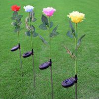 ingrosso pali solari del cortile solare-2V / 60mA Solar Power Rose Flower LED Luce da giardino Palo Lampada da giardino Yard LED