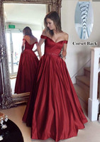Wholesale ball gowns crystal teens for sale - Group buy New Dark Red Satin Long Prom Dresses With Crystals Sash Sexy Off shoulder Formal Evening Dresses Wear Cheap Teens Girl Party Ball Gowns