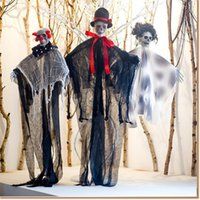 Wholesale skeleton decor for sale - Group buy 2019 Solid Skeleton Halloween Hanging Ghost with Hand Scary Haunted House Horror Prop Party Decor