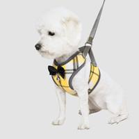 arnês para correias venda por atacado-2019 Nova Moda Algodão Médio Pequeno Cão Arreios Ajustável Respirável Colete Peito Cinta Com Xadrez acessórios para cães de estimação