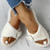 Wholesale soft bottom men casual shoe for sale - Group buy Woman Buckle Flat Female Furry Outdoor Elegant Slippers Ladies Comfort Soft Bottom Outside Women s Casual Fashion Women Shoes