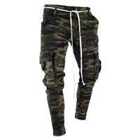 jeans projeta bolso venda por atacado-Designer de lápis de camuflagem dos homens calças de brim de moda bolsos grandes listrada com zíper Design Slim calças de Jean