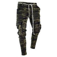 mens pocket pants toptan satış-Erkek Kamuflaj Kalem Tasarımcısı Kot Moda Büyük Cepler Çizgili Fermuar Tasarım Ince Jean Pantolon
