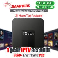 mx tv box quad core al por mayor-1 año de suscripción a IPTV con Android IPTV Box Soporte Más de 30 países Live TV Europa Árabe Abonnement Iptv Sports USA Mxq Pro
