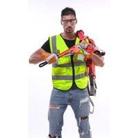 abrigo de tráfico al por mayor-La ropa de advertencia de seguridad nocturna más nueva del chaleco reflectante con revestimiento fluorescente para la ingeniería de construcción Protección de tráfico