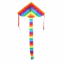 uzun uçurtma toptan satış-Çocuklar Çocuklar Uçurtma Stunt Kite Surf için Açık Fun Sports s Aksesuarlar Gökkuşağı Kolay Uçan Uçurtma Açık Uzun Kuyruk Naylon Oyuncak olmadan