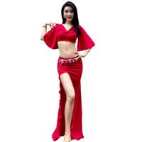 falda roja acampanada al por mayor-Sexy traje de la danza del vientre conjunto para las mujeres rojo amarillo Bellydance falda larga de manga acampanada trajes de baile exóticos Dancewear DC1255