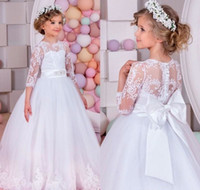 Wholesale white rhinestone cheap wedding dress for sale - Cheap White Princess Flower Girl Dresses Crew Neck Lace Appliques Sleeves A line Long Cute Formal Kids Wear with Bow for Wedding