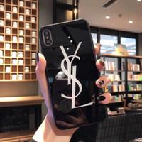 iphone tampa traseira vidro preto venda por atacado-Para iphone xs max xr 8 6 6 s 7 além de preto e branco designer case luxo 9 h dureza de vidro temperado lustroso telefone marca back cover a05