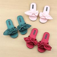 Wholesale big bow shoe flat online - Baby Silk Big Bow Sandals Summer Fashion Kids Slipper Children Girls Beach Home Shoes Anti Slip