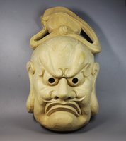 Wholesale CCZHIDAO Demoniacal Full Face Noh Masks Japan Drama wood Wall decoration budas sculpture