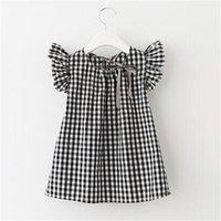 korecek alin etek etekleri toptan satış-Yaz kız elbise ekose kollu prenses etek kısa kollu pamuklu gömlek Kore versiyonu