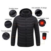 chalecos calentados al por mayor-Chaqueta de calefacción Invierno inteligente USB calefacción eléctrica temperatura constante chaqueta de manga larga con capucha chaleco ropa abrigada