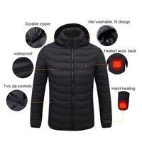 roupas aquecidas venda por atacado-Jaqueta de aquecimento de inverno inteligente aquecimento elétrico USB temperatura constante para baixo jaqueta de manga longa com capuz colete roupas quentes