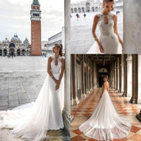 Wholesale sweep train wedding dress online - 2019 Julie Vino Ivory Mermaid Lace Wedding Dresses Sexy Backless Satin Wedding Bridal Gowns with Detachable Tulle Train Custom Made